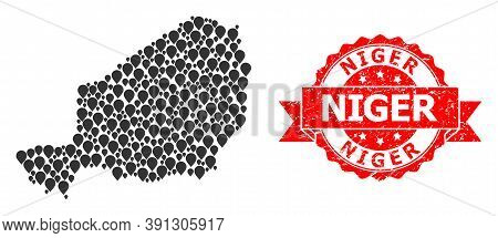 Pointer Mosaic Map Of Niger And Grunge Ribbon Watermark. Red Stamp Seal Contains Niger Title Inside