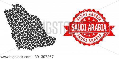 Mark Mosaic Map Of Saudi Arabia And Scratched Ribbon Watermark. Red Seal Contains Saudi Arabia Capti