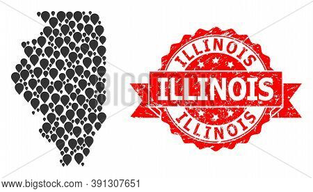 Pin Mosaic Map Of Illinois State And Scratched Ribbon Stamp. Red Stamp Seal Has Illinois Title Insid