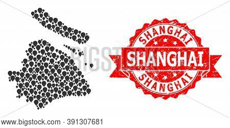 Pinpoint Collage Map Of Shanghai Municipality And Scratched Ribbon Seal. Red Seal Has Shanghai Capti