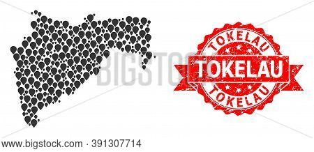 Pointer Collage Map Of Maharashtra State And Grunge Ribbon Seal. Red Seal Includes Tokelau Text Insi