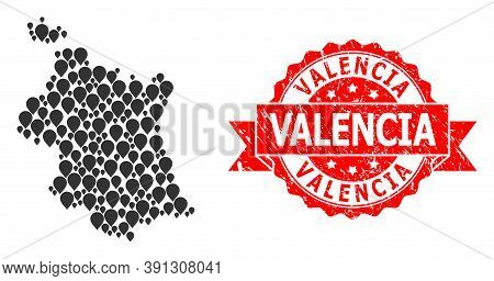 Pointer Collage Map Of Valencia Province And Grunge Ribbon Stamp. Red Stamp Seal Contains Valencia C