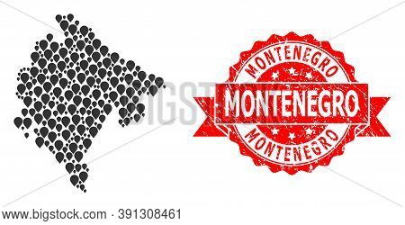 Marker Collage Map Of Montenegro And Scratched Ribbon Stamp. Red Stamp Includes Montenegro Tag Insid
