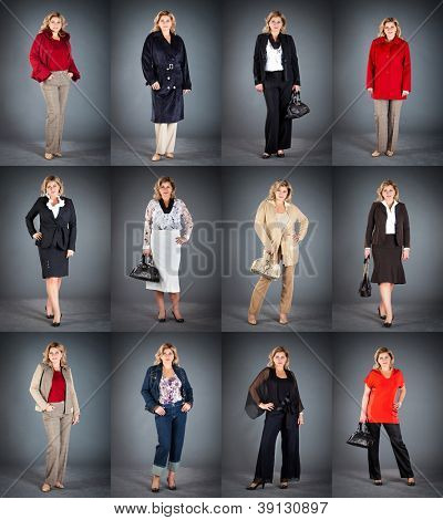 collection lady's clothes, woman at a mature age in different clothes
