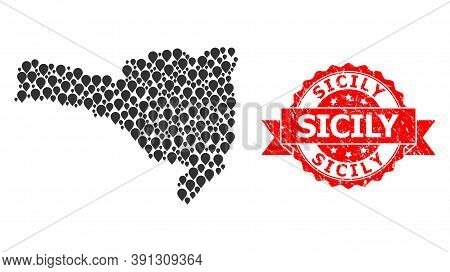 Mark Collage Map Of Santa Catarina State And Grunge Ribbon Stamp. Red Stamp Seal Includes Sicily Tex