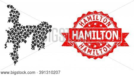 Pinpoint Mosaic Map Of Hamilton Island And Scratched Ribbon Seal. Red Seal Contains Hamilton Text In