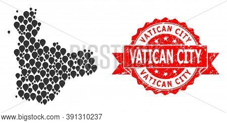 Pinpoint Mosaic Map Of Valladolid Province And Scratched Ribbon Stamp. Red Stamp Has Vatican City Ta