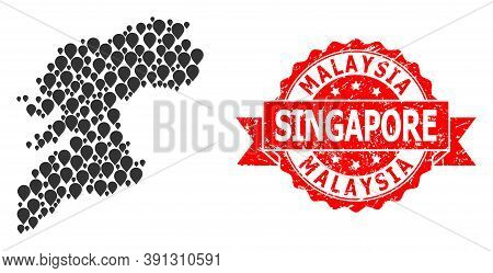Pointer Collage Map Of Pontevedra Province And Scratched Ribbon Stamp. Red Stamp Includes Malaysia S