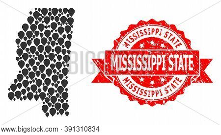 Marker Mosaic Map Of Mississippi State And Scratched Ribbon Seal. Red Seal Has Mississippi State Tag
