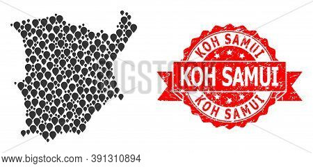 Pointer Mosaic Map Of Koh Samui And Scratched Ribbon Stamp. Red Stamp Seal Has Koh Samui Title Insid