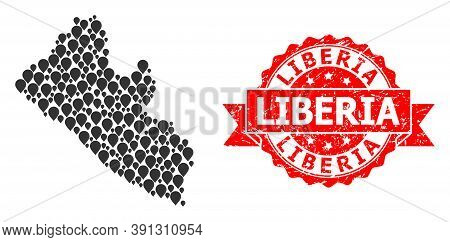 Pin Mosaic Map Of Liberia And Grunge Ribbon Stamp. Red Stamp Has Liberia Text Inside Ribbon. Abstrac