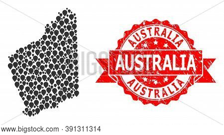 Pointer Mosaic Map Of Western Australia And Grunge Ribbon Seal. Red Stamp Seal Contains Australia Ta