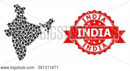 Marker Mosaic Map Of India And Scratched Ribbon Seal. Red Seal Contains India Text Inside Ribbon. Ab