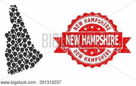 Marker Mosaic Map Of New Hampshire State And Grunge Ribbon Seal. Red Seal Contains New Hampshire Tit