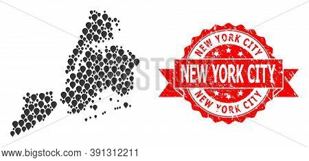Marker Collage Map Of New York City And Scratched Ribbon Stamp. Red Stamp Seal Contains New York Cit