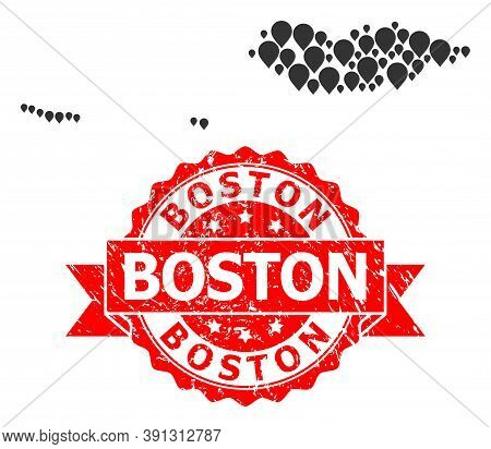 Pinpoint Collage Map Of Socotra Archipelago And Scratched Ribbon Seal. Red Seal Contains Boston Tag