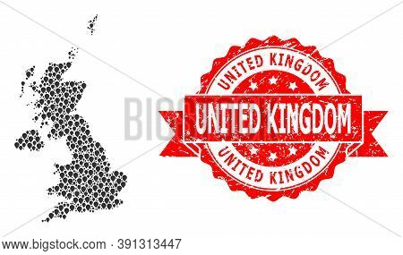 Pinpoint Mosaic Map Of United Kingdom And Scratched Ribbon Seal. Red Seal Includes United Kingdom Te