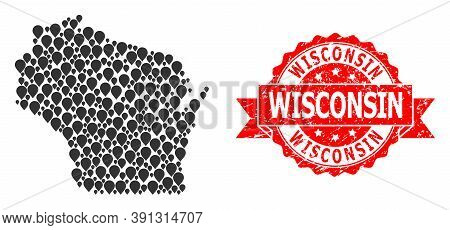 Pointer Mosaic Map Of Wisconsin State And Scratched Ribbon Watermark. Red Stamp Contains Wisconsin C