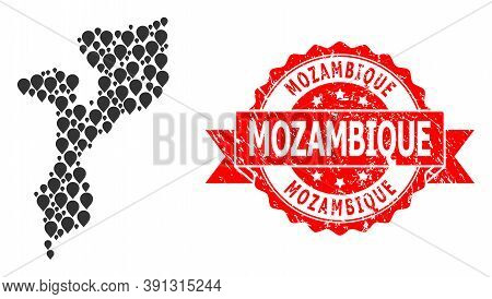 Target Collage Map Of Mozambique And Grunge Ribbon Seal. Red Stamp Seal Has Mozambique Text Inside R