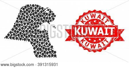 Mark Collage Map Of Kuwait And Scratched Ribbon Seal. Red Stamp Seal Contains Kuwait Text Inside Rib