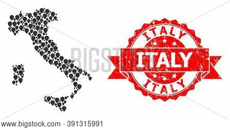 Pointer Collage Map Of Italy And Grunge Ribbon Seal. Red Stamp Contains Italy Text Inside Ribbon. Ab