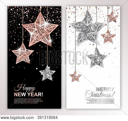 Happy New Year And Merry Christmas Vertical Banners Set With Rose Gold And Silver Hanging Stars On C