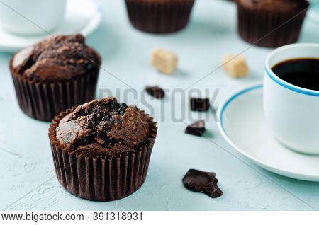Chocolate Chips Oats Chocolate Muffins With Coffee