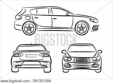 Modern Car Hatchback Silhouette On White Background. Vehicle Icons Set View From Side, Front And Bac