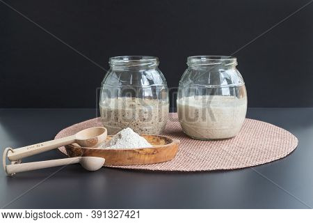 Natural Organic Sourdough Starters: Freshly Fermented Bubbly Rye And Wheat Starters In Glass Jars Re