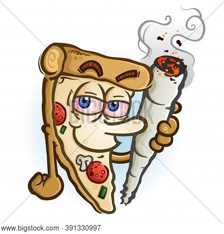 A Hot Delicious Slice Of Pizza Cartoon Character Holding A Big Rolled Marijuana Joint