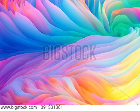 Color Storm Series. 3d Rendering Of Colorful Ridges Of Virtual Paint To Serve As Wallpaper Or Backgr