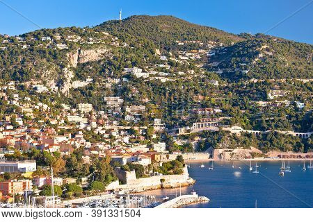 Villefranche Sur Mer And French Riviera Coastline View, Alpes-maritimes Region Of France