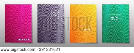Wave Halftone Backgrounds Minimal Cover Layouts Vector Collection. Geometric Curve Stripes Halftone
