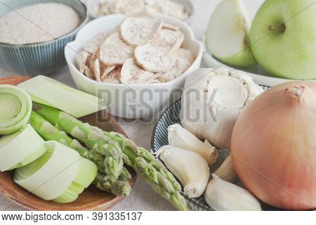 Variety Of Prebiotic Foods For Gut Health, Low Carb Diet, Dairy Free And Gluten Free, Healthy Plant