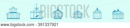 Set Of Birds And Birdcages Modern Cartoon Icon Design Template With Various Models. Vector Illustrat