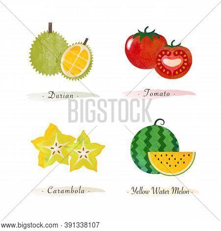 Organic Nature Healthy Food Fruit Durian Tomato Carambola Water Melon