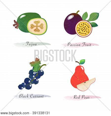 Organic Nature Healthy Food Fruit Feijoa Passion Fruit Black Currant Red Pear