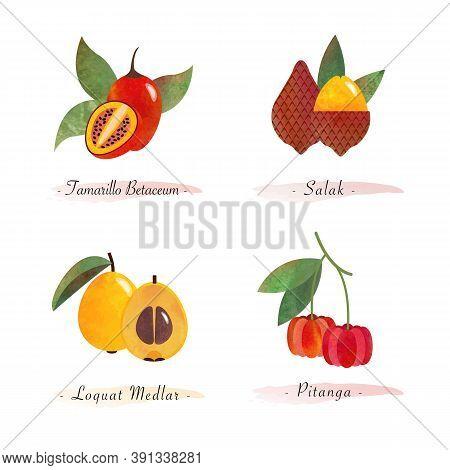 Organic Nature Healthy Food Fruit Tamarillo Betaceum Salak Loquat Medlar Pitanga