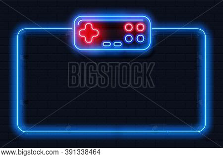 Neon Game Background. Realistic Videogame Frame. Square Shape With Joystick, Control Buttons, Contou