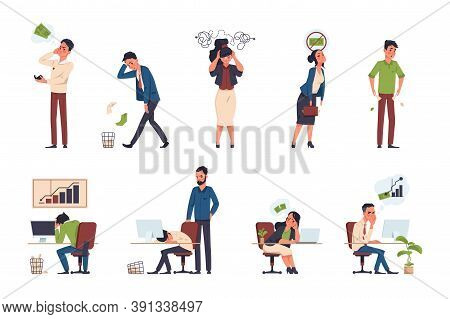 Bankruptcy. Financial Trouble Concepts. Stressed Cartoon Characters, Office Workers With Economic, B