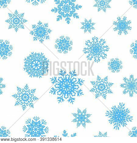 Snowflakes Pattern. Christmas Decorative Seamless Texture. Blue Ice Crystals, Snowy Silhouettes For