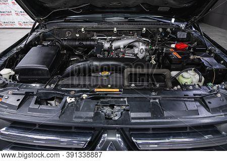 Novosibirsk, Russia - October 16, 2020: Mitsubishi Pajero, Car Engine Close-up. Internal Combustion