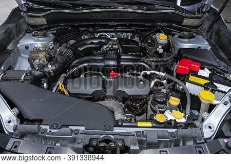 Novosibirsk, Russia - October 16, 2020: Subaru Forester, Car Engine Close-up. Internal Combustion En