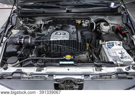 Novosibirsk, Russia - October 16, 2020: Great Wall Hover, Car Engine Close-up. Internal Combustion E