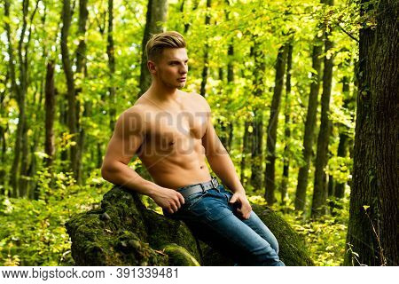 Sexy Male Bare Torso Outdoor. Handsome Masculine Man. Muscular Guy With Sexy Perfect Naked Body