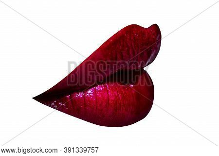 Sexy Lips Kiss, Kissing Mouth. Passion Kisses. Kissed On White Background. Erotica Passion Kiss. Sen