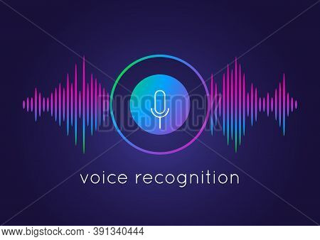 Voice Recognition Concept. Artificial Intelligence Recognizes Speech. Microphone Round Button Icon A