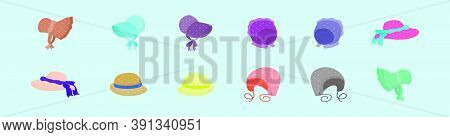 Set Of Bonnet Cartoon Icon Design Template With Various Models. Vector Illustration Isolated On Blue