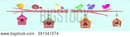 A Set Of Birds And Birdcages Icon Design Template With Various Models. Vector Illustration Isolated