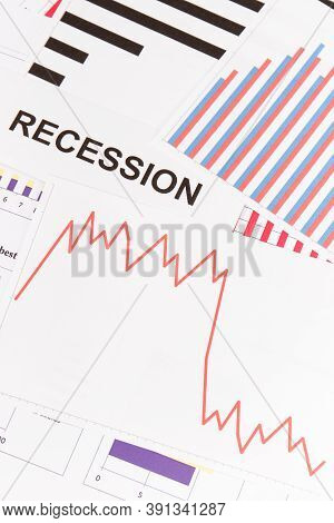 Inscription Recession And Downward Graphs Representing Financial Crisis Caused By Coronavirus. Risk